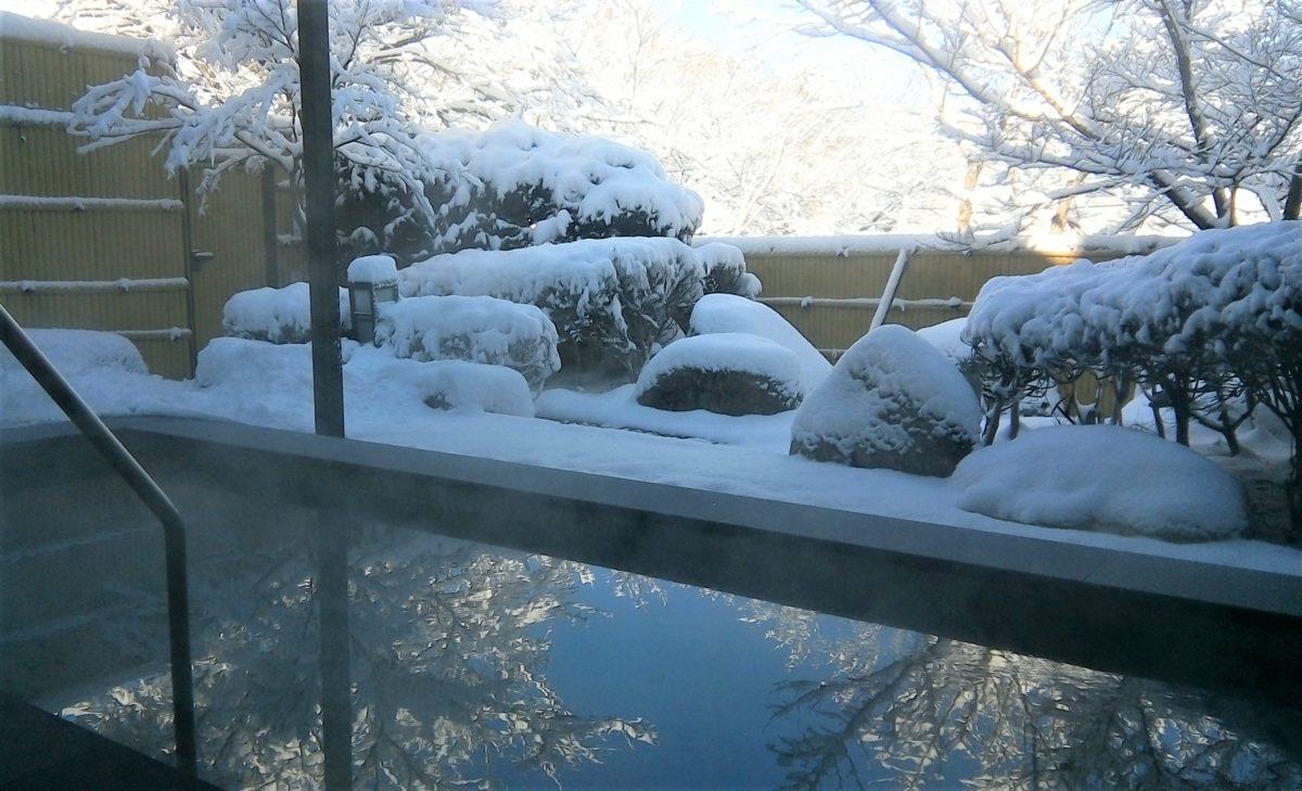 雪見をしながら、露天風呂!