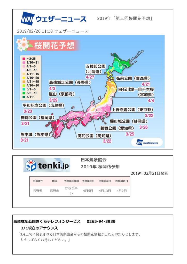 2019桜開花予想のサムネイル